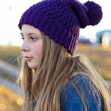 CROCHET PATTERN Slouchy Beanie INSTANT Download / Crochet Slouchy hat Pattern for pictures / Womens Slouchy Beanie / Slouchy beanie pattern