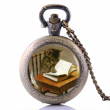 Steampunk Cat Reading Book Pocket Watch Necklace Book lover Jewelry