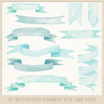 Watercolor clipart ribbons and banners (40 pc) mint teal aqua turquoise. hand painted for logo design, blogs, cards, printables, wall art