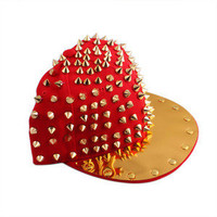 Hip-hop adjustable New Punk Unisex Hedgehog Gold Spikes Studded Hat Unisex