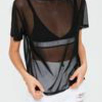 Missguided - Petite Black Mesh T-Shirt