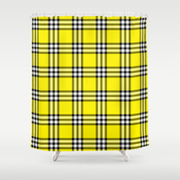 As If Plaid Shower Curtain by Kat Mun