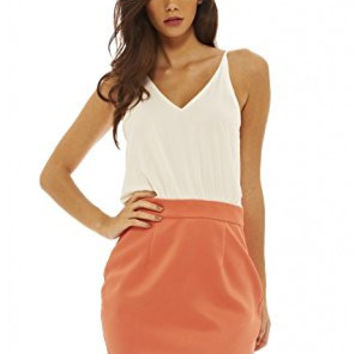 Cream Sleeveless Top and Coral Skirt 2 in 1 Dress