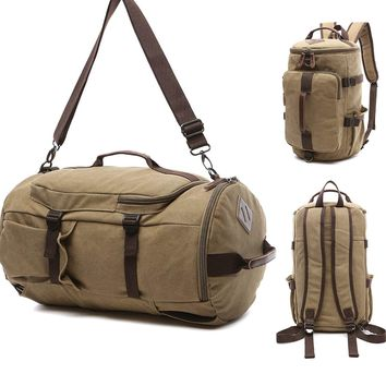Canvas Travel Duffel Tote Multipurpose Luggage Bag Convertible Backpack Hiking Rucksack