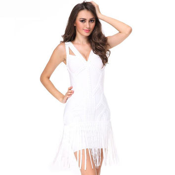 Fringe Rivet Bandage White Mini Dress