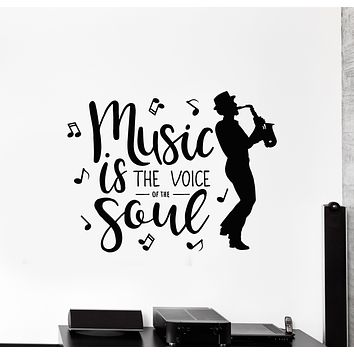 Vinyl Wall Decal Voice Soul Jazz Music Player Saxophone Stickers Mural (g3059)