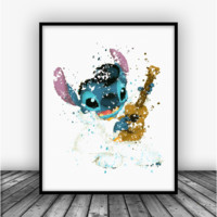 Elvis Stitch Art Print Poster