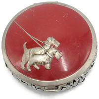 1920's Evans Chain Mail Mesh Red Enamel Two Terrier Dogs Powder Compact