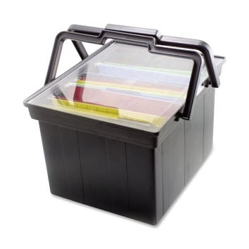 Heavy Duty Letter And Legal Portable Plastic File Box, with Lid and Handles