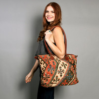 80s Oversized KILIM PURSE / Turkish Wool & Leather Shoulder Bag