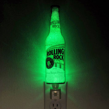 "12oz Rolling Rock Beer 12oz Night Light / Accent Lamp- VIDEO DEMO-  Eco LED...""Diamond Like"" Glass Crystal Coating on interior"