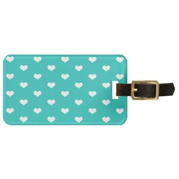 Cute Mint White Hearts - Address Luggage Tag
