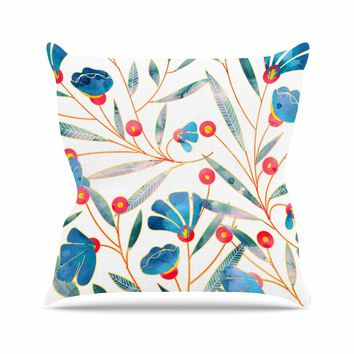 "83 Oranges ""Bluebella"" Blue White Nature Floral Illustration Watercolor Outdoor Throw Pillow"