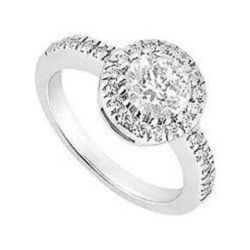 14K White Gold Halo Semi Mount Engagement Ring with 0.25 CT Diamonds Not Included Center Diamond