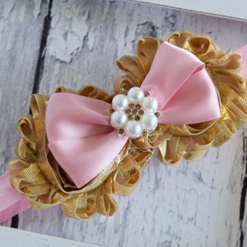 Pink and Gold Headband, Baby Bow Headband, Girls Headband, Hair Bows, Headband, Baby Headband, Gold and Pink Headband, 1st Birthday Headband