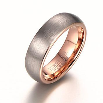 New designs double color tungsten fashion Drawing rings rose gold color tungsten ring 6mm width Men's Women Wedding Ring