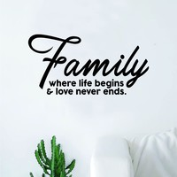 Family Where Life Begins Love Never Ends Wall Decal Sticker Vinyl Art Bedroom Living Room Decor Decoration Teen Quote Inspirational Marriage Kids Son Daughter Siblings
