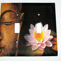 Double Light Switch Cover - Light Switch Plate Zen Buddha Lotus