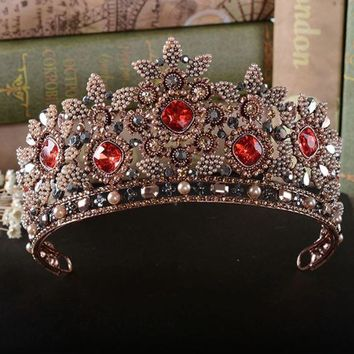 Renaissance Medieval Crowns Tiaras Hairbands Red Rhinestones Vintage Pageant Baroque Style Wedding Hair Accessories