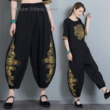 Vintage Embroidery Loose Bloomers Cotton Linen Women Harem Pants Casual Trousers 2017 NEW Arrival