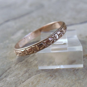 Art Deco Orange Blossom Flower Wedding Band 10k Floral Designs rosey yellow gold ladies Eternity Forget Me Not Posies