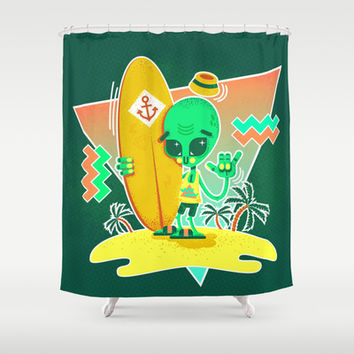 Alien Surfer Nineties Pattern Shower Curtain by chobopop