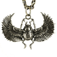 Egypt Scarab Necklace Antique Silver Color Bronze Pendant with Handmade Chain Bohemian Jewelry - FPE014 YB/WB/SS