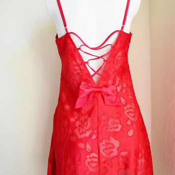 Vintage Victoria's Secret Red Short Nightie Small Roses Sheer Bow