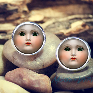 Vintage Baby Doll Face Earrings, Baby Faces, Weird, Creepy, Jewelry, Round Glass Earrings, Dome Glass Earrings, Metal Studs