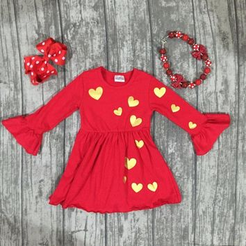 3PC Little Girl's Valentine's Day Outfit Gold Hearts Top with Matching Necklace and Bow