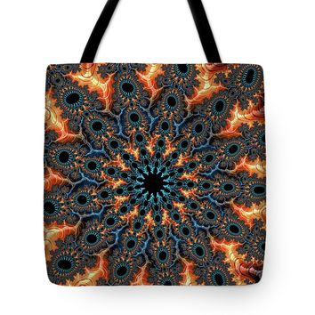 Fractal Pattern Orange And Turquoise Tote Bag