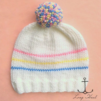 Easter Hat, Easter Beanie, Easter Colors, Pastel, Knit Hat, Knit Beanie