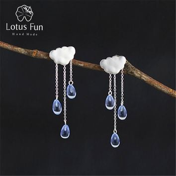 Lotus Fun Real 925 Sterling Silver Natural Handmade Fine Jewelry Ethnic Cloud Long Tassel Dangle Earrings for Women Brincos