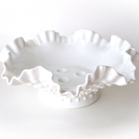 Vintage Fenton Hobnail Milk Glass Three Candle Holder Bowl Large
