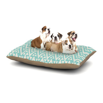 "Amanda Lane ""Geo Tribal Turquoise Sky"" Teal Aztec Dog Bed"