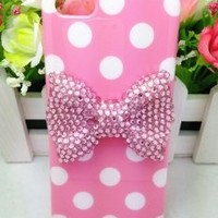 Leegoal Lovely Cute 3D Bling Dot Pattern Case Cover For Apple iPhone 5C (Pink Bow)