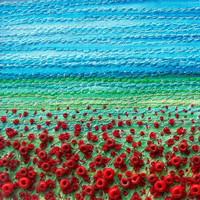 "Poppy field beaded fabric landscape card - stitched beaded fabric art card - 5"" x 5"" square embroidered card - textile art"