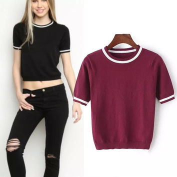 Summer Vintage Crop Top Slim Pullover Knit Tops Stripes Short Sleeve Sweater [8173414663]