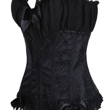 Black Floral Print Ruffled and Ruched Corset