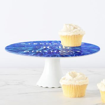 Blue Abstract Cake Stand, 90th Birthday Party Cake Stand