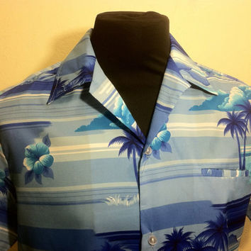 1970's Shades of Blue Hawaiian Mens Shirt