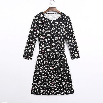 Women's Fashion Floral Corset Long Sleeve Round-neck Slim Skirt One Piece Dress [4917829444]