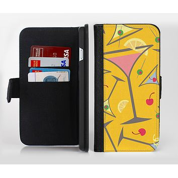 The Orange Martini Drinks With Lemons Ink-Fuzed Leather Folding Wallet Credit-Card Case for the Apple iPhone 6/6s, 6/6s Plus, 5/5s and 5c