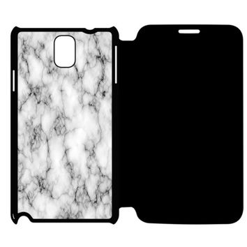 White Marble Samsung Galaxy Note 4 Flip Case Cover