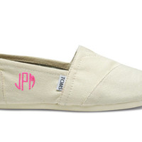 MONOGRAMMED Canvas Womens Classic Toms Shoes - Embroidered
