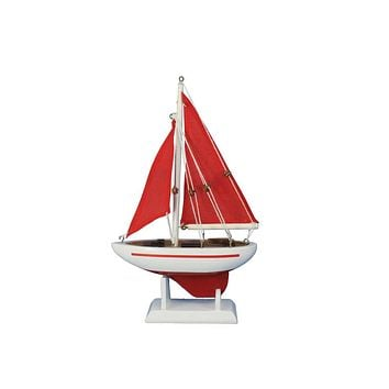 Wooden Red Pacific Sailer with Red Sails Model Sailboat Decoration 9""