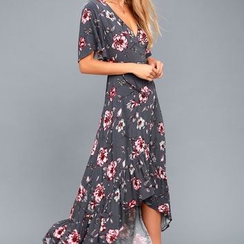 On the Road Faye Grey Floral Print High-Low Wrap Dress