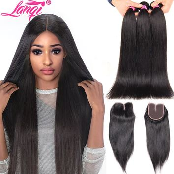 Brazilian Straight Hair Bundles With Closure LanQi Brazilian Remy Hair with closure Human Hair Weave 3 Bundles With lace Closure