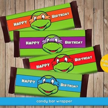Teenage Mutant Ninja Turtles Chocolate Wrappers - TMNT Candy Wrapper Baby Shower Birthday Party Decorations Kids Supplies