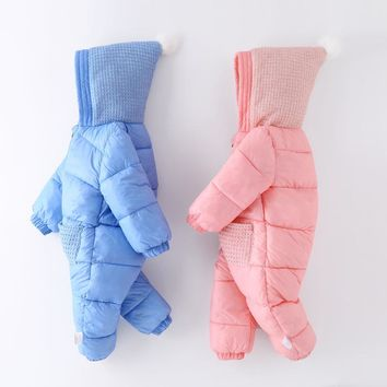 Winter Newborn Clothing Baby Boy Clothes Pure Color Hoodie Baby Girls Jumpsuit 3D Design Light Weight Baby Boys Snow Wear